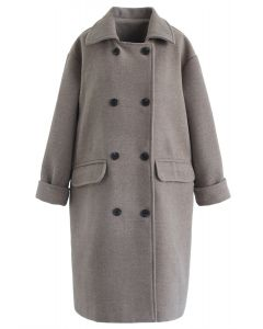 Flap Pockets Double-Breasted Wool-Blend Coat in Grey