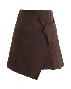 Flap Pleated Mini Skirt in Brown