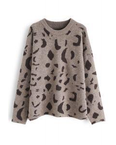 Inky Pattern Loose Knit Sweater in Brown