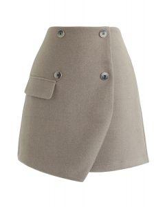 Button Trim Flap Mini Skirt in Sand