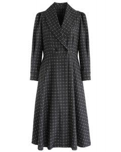 Grid V-Neck Midi Coat Dress in Smoke