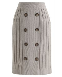 Button Ribbed Knit Pencil Skirt in Sand