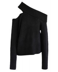 Asymmetric Cutout Off-Shoulder Knit Sweater in Black