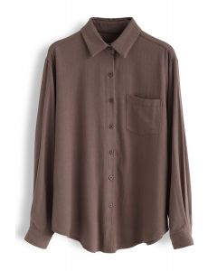 Pocket Button Down Sleeves Shirt in Brown