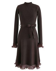 Bell Cuffs Mock Neck Knit Midi Dress in Brown