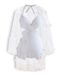 Halter Tied Ruffle Swimsuit with Mesh Kimono in White
