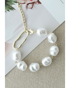 Irregular White Pearl Beaded Bracelet