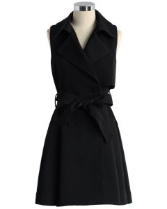 Belted Sleeveless Trench Coat in Black