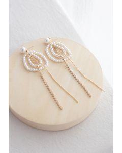Circle Beads Crystal Chain Pearl Earrings