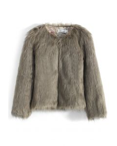 My Chic Faux Fur Coat in Brown