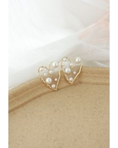 Pearl Trimmed Heart Earrings