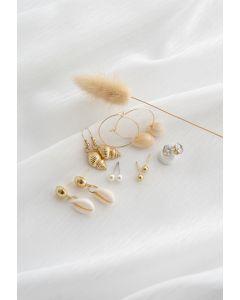 6 Pack Cowrie Shell Diamante Pearl Stud and Hoop Earrings