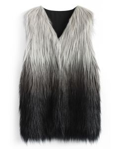 Super Star Dip Dyed Faux Fur Vest