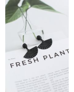 Black Folded Fan Earrings