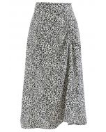 Animal Print Side Ruched Midi Skirt in Ivory