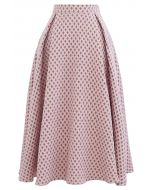 Diamond Embossed A-Line Pleated Midi Skirt