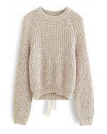 Self-Tie Open Back Rib Knit Sweater
