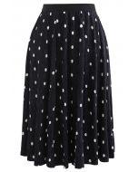 Dots Print Corduroy Velvet skirt in Black